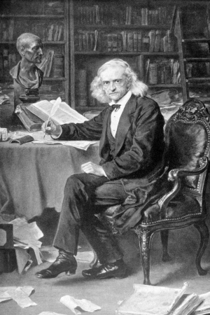 archaeologist: Theodor Mommsen (1817-1903) on antique print from 1898. German classical scholar, historian, jurist, journalist, politician, archaeologist and writer. After L.Knaus and published in the 19th century in portraits, Germany, 1898.
