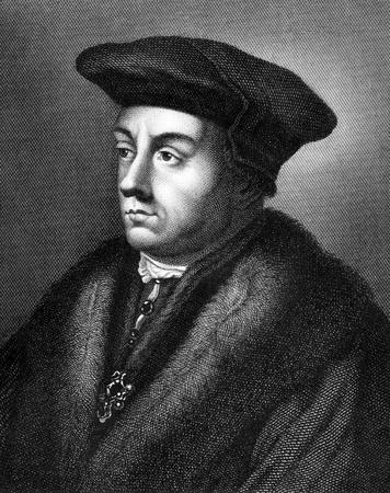 statesman: Thomas Cromwell (1485-1540) su incisione dal 1859. Statista inglese che � servito come primo ministro del re Enrico VIII durante 1532-1540. Incisione di autore ignoto e pubblicato in Meyers Konversations-Lexikon, Germania, 1859.
