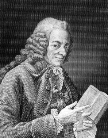 Voltaire (1694-1778) on engraving from 1859. French Enlightenment writer, historian and philosopher. Engraved by unknown artist and published in Meyers Konversations-Lexikon, Germany,1859. Redakční