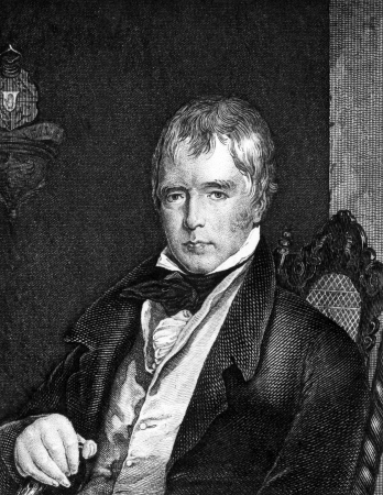 scott: Walter Scott (1771-1832) on engraving from 1859. Scottish historical novelist, playwright, and poet. Engraved by unknown artist and published in Meyers Konversations-Lexikon, Germany,1859.