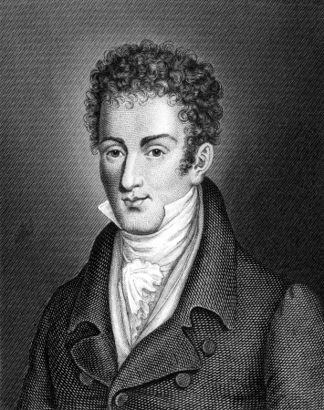 biographer: Washington Irving (1783-1859) on engraving from 1859.  American author, essayist, biographer and historian. Engraved by unknown artist and published in Meyers Konversations-Lexikon, Germany,1859.