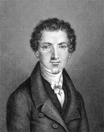 Wilhelm Hauff (1802-1827) on engraving from 1859. German poet and novelist. Engraved by unknown artist and published in Meyers Konversations-Lexikon, Germany,1859. Stock Photo - 15111876