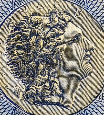 alexander the great: Alexander The Great  356-323BC  on 1000 Drachmai 1941 Banknote from Greece  King of Macedon, a state in northern ancient Greece and creator of one of the  largest empires of the ancient world while undefeated in battle