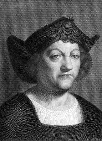 christopher columbus: Christopher Columbus  1451-1506  on engraving from 1851  Explorer, navigator and colonizer  Engraved by I W Baumann and published in The Book of the World,Germany,1851  Editorial
