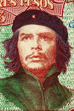 banknote uncirculated: Ernesto Che Guevara  1928-1967  on 3 Pesos 1995 Banknote from Cuba  An inspiration for every human being who loves freedom