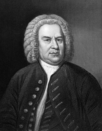 composer: Johann Sebastian Bach  1685-1750  on engraving from 1857  German composer, organist, harpsichordist, violist and violinist  Engraved by C Cook and published in Imperial Dictionary of Universal Biography,Great Britain,1857
