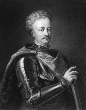 sobieski: John III Sobieski  1629-1696   One of the most notable monarchs of the Polish-Lithuanian Commonwealth  Engraved by J Thomson and published in The Gallery Of Portraits With Memoirs encyclopedia, United Kingdom, 1833  Editorial