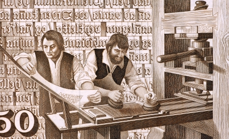 unc: 16th Century Printers at Work on 50 Kronur 1981 Banknote from Iceland  Stock Photo
