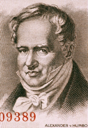 naturalist: Alexander von Humboldt  1769-1859  on 5 Marks 1954 Banknote from East Germany  Prussian geographer, naturalist and explorer