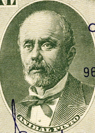 banknote uncirculated: Anibal Pinto  1825-1884  on 5 Centimos on 50 Pesos 1960 Banknote from Chile  President of Chile during 1876-1881