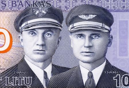 banknote uncirculated: Aviators Steponas Darius  1896-1933  and Stasys Girenas  1893-1933  on 10 Litu 2007 Banknote from Lithuania  Stock Photo