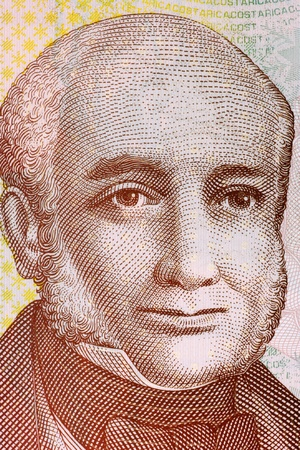 unc: Braulio Carrillo Colina (1800-1845) on 1000 Colones 2009 Banknote from Costa Rica. Head of State of Costa Rica during 1835-1837 and 1838-1842. Stock Photo