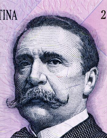 carlos: Carlos Pellegrini (1846-1906) on 1 Peso 1993 Banknote from Argentina. President of Argentina during 1890-1892.