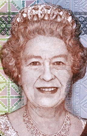 unc: Elizabeth II (born 1926) on 5 Dollars 2011 Banknote from Fiji. Queen of the United Kingdom. Stock Photo