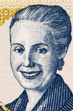 evita: Eva Peron (1919-1952) on 2 Pesos 2001 Banknote from Argentina. Second wife of President Juan Peron.