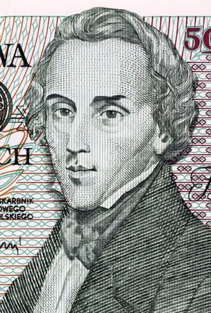 virtuoso: Frederic Chopin on 5000 Zlotych 1988 Banknote from Poland. Polish composer and virtuoso pianist.