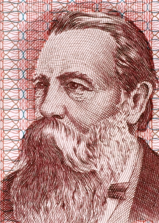 marx: Friedrich Engels (1820-1895) on 50 Marks 1951 Banknote from East Germany. German social scientist, author, political theorist, philosopher and father of Marxist theory alongside Karl Marx.