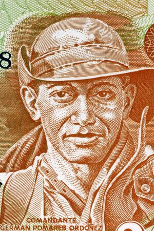 banknote uncirculated: German Pomares Ordonez (1937-1979) on 20 Cordobas 1979 Banknote from Nicaragua. Nicaraguan revolutionary and National Hero.