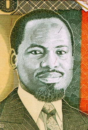 unc: Joaquim Chissano (born 1939) on 10000 Meticais 1991 Banknote from Mozambique. President of Mozambique during1986-2005. Stock Photo