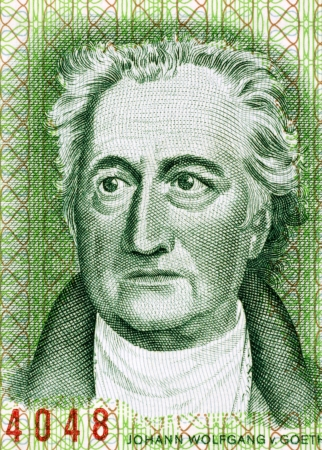 banknote uncirculated: Johann Wolfgang von Goethe (1849-1932) on 20 Marks 1975 Banknote from East Germany. German writer, artist and politician.