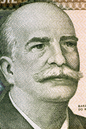 historian: Jose Paranhos, Baron of Rio Branco (1845-1912) on 1000 Cruzeiros 1981 Banknote from Brazil. Brazilian diplomat, geographer, historian, monarchist, politician and professor. The father of Brazilian diplomacy.