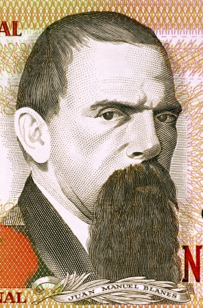banknote uncirculated: Juan Manuel Blanes (1830-1901) on 2000 Nuevos Pesos 1989 Banknote from Uruguay. Uruguayan painter of the Realist school. Stock Photo