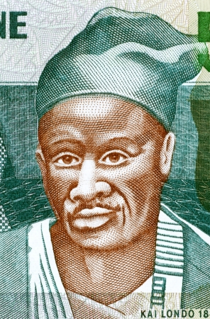 unc: Kai Londo (1845-1896) on 500 Leones 2003 Banknote from Sierra Leone. Kissi warrior from Sierra Leone who conquered a large territory.
