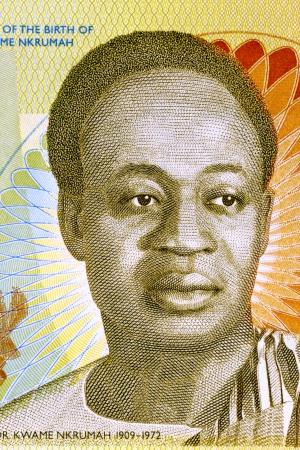banknote uncirculated: Kwame Nkrumah (1909-1972) on 2 Cedis 2010 Banknote from Ghana. Leader of Ghana and its predecessor state, the Gold Coast, during 1951-1966. Stock Photo