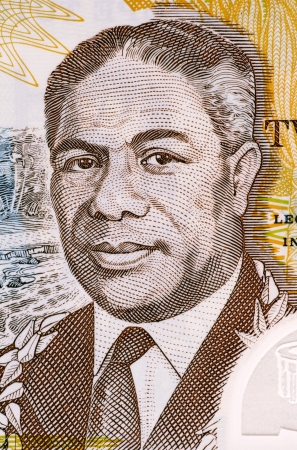 banknote uncirculated: Malietoa Tanumafili II (1913-2007) on 2 Lua Tala 2003 Banknote from Samoa. Samoan head of state during 1962-2007. Stock Photo