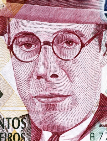 banknote uncirculated: Mario de Andrade (1893-1945) on 500000 Cruzeiros 1993 Banknote from Brazil. Brazilian poet, novelist, musicologist, art historian and critic, and photographer.