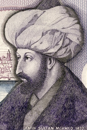 turkish people: Mehmed the Conqueror (1432-1481) on 1000 Lira 1986 Banknote from Turkey. Sultan of the Ottoman Empire during 1444-1446 and 1451-1581.