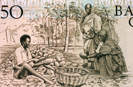 banknote uncirculated: Men Splitting Cacao Pots on 50 Cedis 1980 Banknote from Ghana