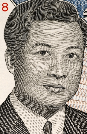banknote uncirculated: Norodom Sihanouk  1922-2012  on 2000 Riels Banknote from Cambodia  King of Cambodia during 1941-1955 and 1993-2004  Stock Photo