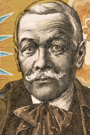dramatist: Pavol Orszagh Hviezdoslav  1849-1921  on 10 Korun 1986 Banknote from Czechoslovakia  Slovak poet, dramatist and translator  Stock Photo