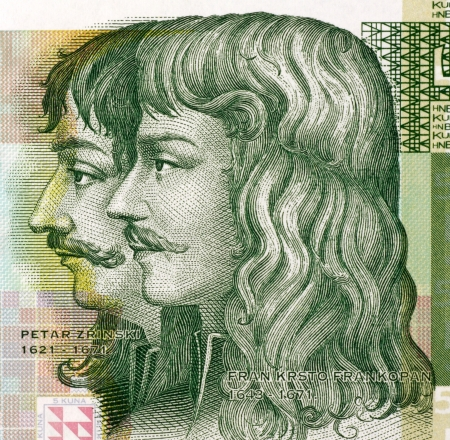attempted: Petar Zrinski  1621-1671  and Fran Krsto Frankopan  1643-1771  on 5 Kuna 2001 Banknote from Croatia   Attempted to throw off Habsburg and other foreign influences over Hungary and Croatia