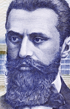 Theodor Herzl  1860-1904  on 10 Sheqalim 1988 Banknote from Israel  Jewish Austro-Hungarian journalist and the father of modern political Zionism and in effect the State of Israel