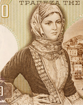 banknote uncirculated: Girl from Hydra in Local Costume on 1000 Drachmai 1970 Banknote from Greece