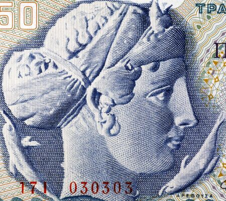 banknote uncirculated: Arethusa on 50 Drachmai 1964 Banknote from Greece. Nereid nymph who became a fountain.