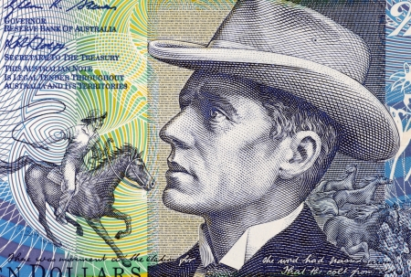 banknote uncirculated: Banjo Paterson (1864-1941) on 10 Dollars 2007 Banknote from Australia. Australian bush poet, journalist and author.