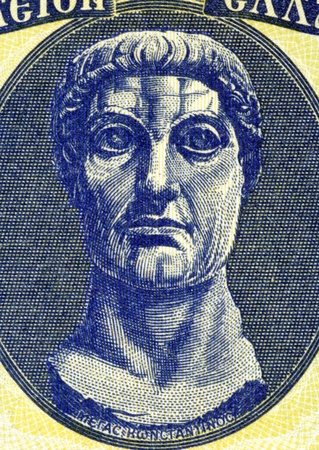 constantine: Constantine the Great (272-337) on 100 Drachmai 1950 Banknote from Greece. Roman Emperor during 306-337 Stock Photo