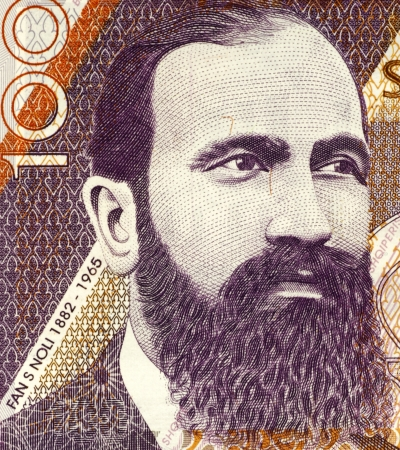 historian: Fan S. Noli (1882-1965) on 100 Leke 1996 Banknote from Albania. Albanian-American writer, scholar, diplomat, politician, historian, orator, and founder of the Albanian Orthodox Church