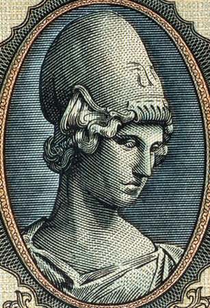 uncirculated: Godess Athena on 5000 Drachmai 1943 Banknote from Greece.