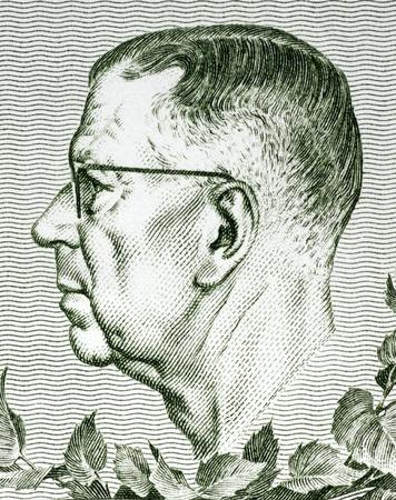 gustaf: Gustaf VI Adolf of Sweden (1882-1973) on 10 Kronor 1980 Banknote from Sweden. King of Sweden during 1950-1973.