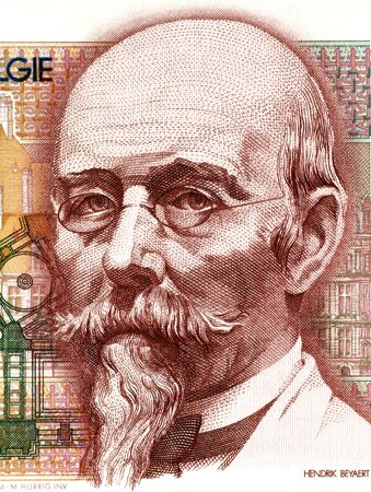 banknote uncirculated: Hendrik Beyaert (1823-1894) on 100 Francs 1978 Banknote from Belgium. One of the most important Belgian architects of the 19th century.