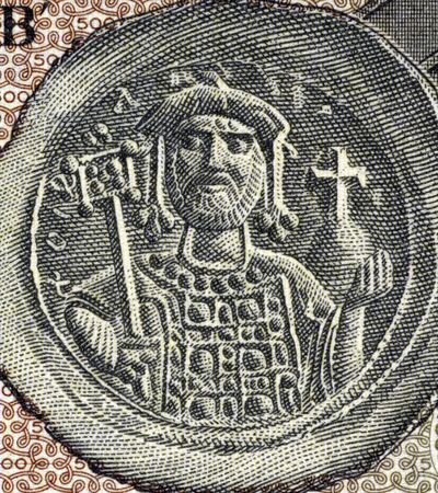 justinian: Justinian I (482-565) on 500 Drachmai 1953 Banknote from Greece. Byzantine Emperor during 527-565. Stock Photo