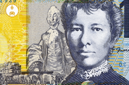 banknote uncirculated: Mary Gilmore (1865-1962) on 10 Dollars 2007 Banknote from Australia. Australian socialist poet and journalist. Stock Photo