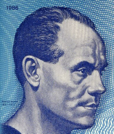 unc: Paavo Nurmi (1897-1973) on 10 Markkaa 1986 Banknote from Finland. Finnish middle and long distance runner.