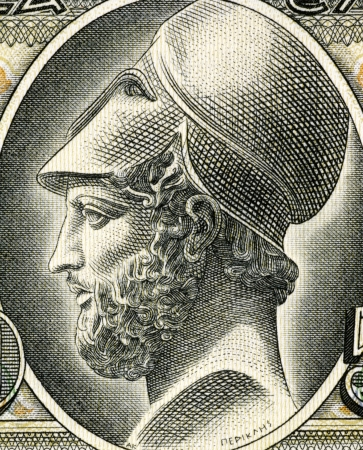 greek currency: Pericles (495-429 BC) on 50 Drachmai 1955 Banknote from Greece