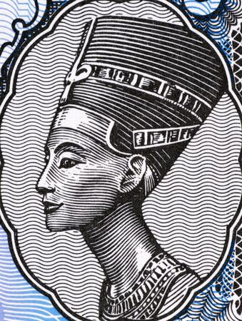 banknote uncirculated: Queen Nefertiti (1370-1330 BC) on 5 Piastres 1998 Banknote from Egypt. Great Royal Wife of the Egyptian Pharaoh Akhenaten. Stock Photo