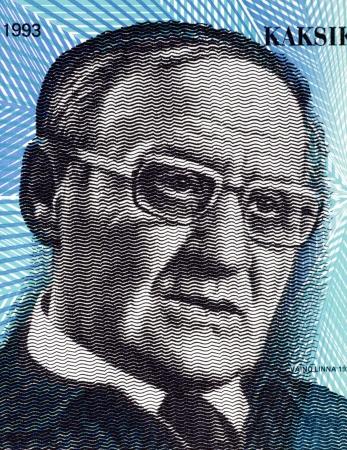 unc: Vaino Linna (1920-1992) 20 Markkaa 1993 Banknote from Finland